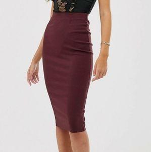 ASOS DESIGN Burgundy Highwaist Longline Skirt